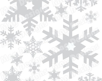 "Snowflakes - Vinyl Snowflake Decals - Silver - Gold or White Snowflakes - 20 - includes 1"" snowflakes with a few 4-5 inch"