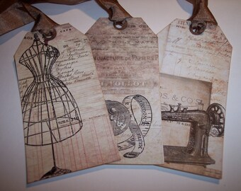 Beautiful Vintage Sewing Ephemera Tags set of 6