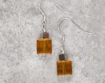 Yellow Cube Drop Earrings (028)