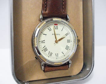 Fossil Watch Brown Leather Band Vintage