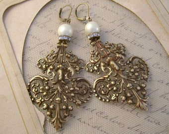 Maggie - Vintage Victorian Filigree Hardware Pearls Rhinestones Recycled Repurposed Jewelry Earrings