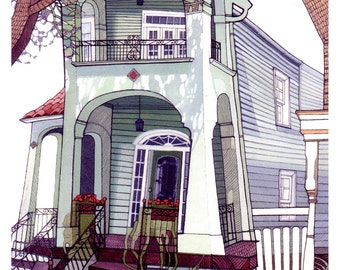 NEW ORLEANS HOME 12x16 (Giclée Print of Original Ink + Gouache Painting)