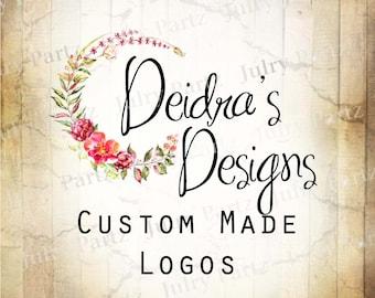 LOGO in Dog Rose Round•Premade Logo•Jewelry Card Logo•Flower Logo•Custom Logo•Shop Logo