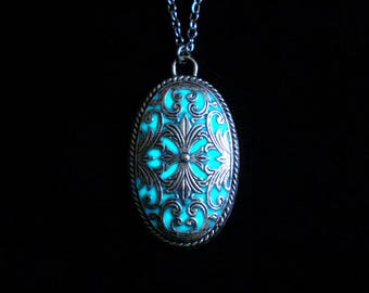Victorian Necklace Pendant Glow In The Dark Necklace Antique Silver (glows aqua blue)