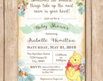 Bear Baby Shower Invitation | Woodlands, Pooh, Watercolor, Woods, Forrest, Boy or Girl, Gender Neutral - 1.00 each printed