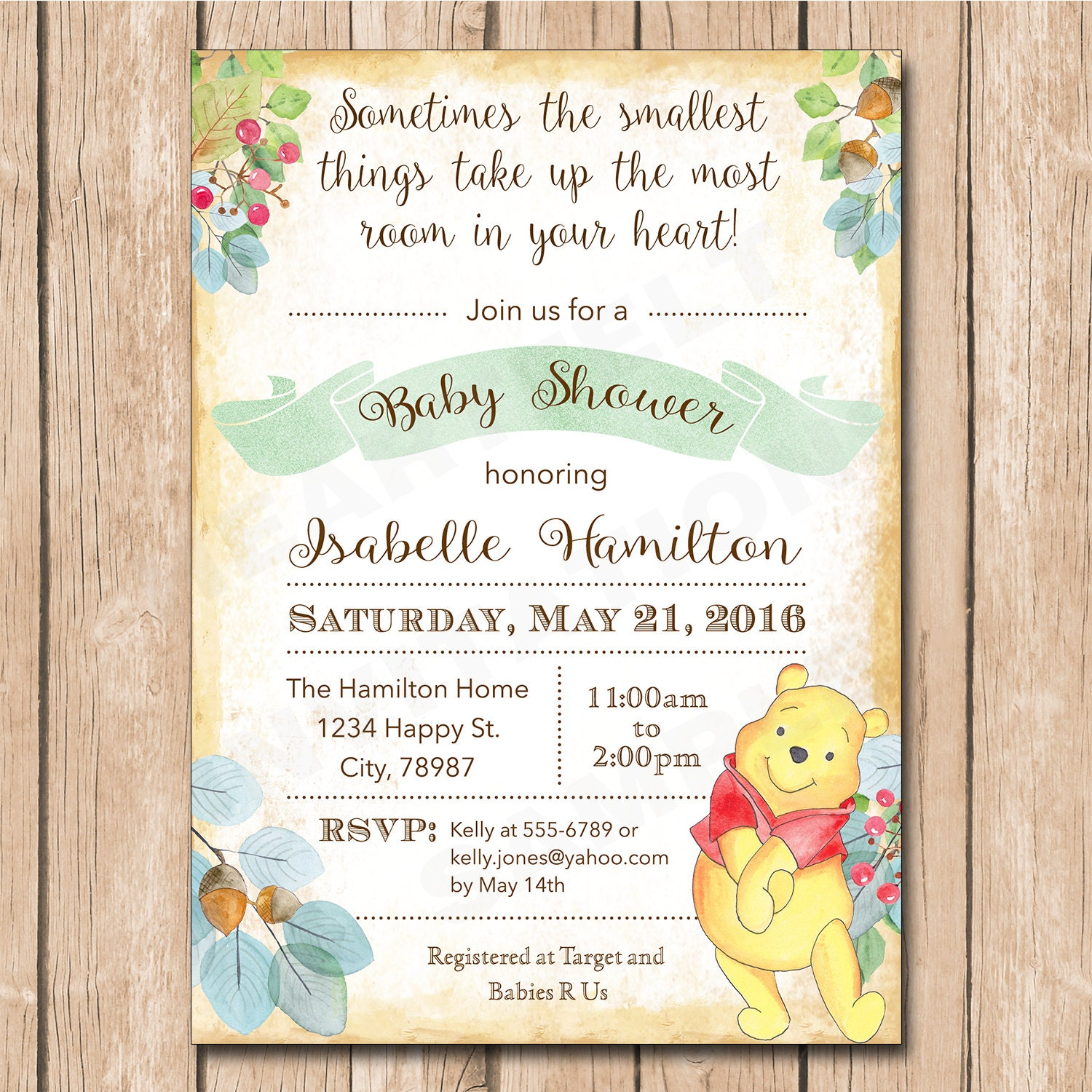 Bear Baby Shower Invitation Woodlands Pooh Watercolor