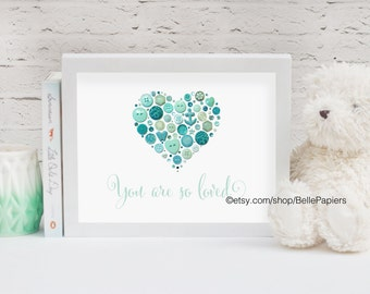 Framed Nursery Heart Decoration Anniversary Gifts Framed Button Art You Are So Loved Heart Vintage Buttons Swarovski Wedding Gifts Nursery