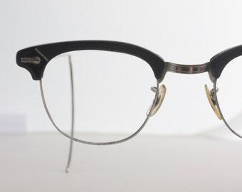 Vintage 50's Rustic Black Horn Cat Eye Eyeglasses Frames