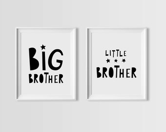Big brother little brother printable quote, nursery set, digital prints, boys nursery art, wall art quote, playroom decor, mini learners art