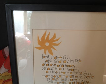 vintage l971 life philosophy quotation print matted and framed sunny yellow