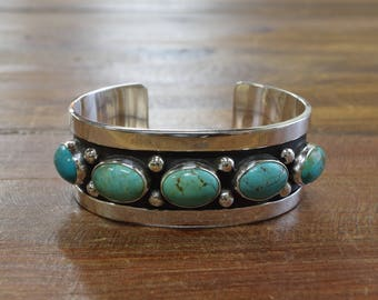 Green Turquoise Sterling Silver Cuff Bracelet by Jose Campos