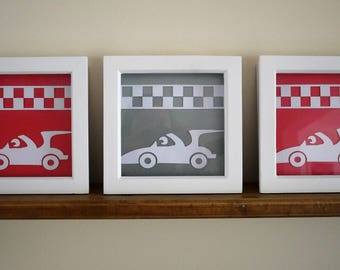 "Set of 3 Box Frame 3D Racing Car pictures, 6"" x 6"" or 8"" x 8"" frames, Nursery decor, Car theme, Boys bedroom decor, New baby gift, FRAMED"