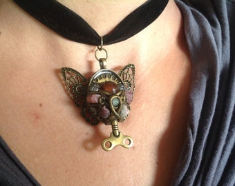 Handmade Unique Steampunk Crystal Butterfly Pendant