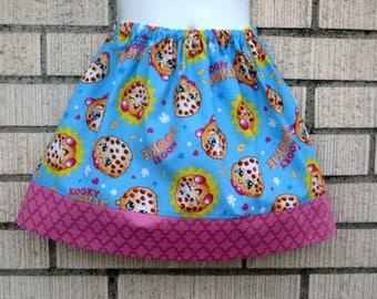 Shopkins Blue Kooky Cookie skirt, shopkins skirt, 6M to size 8