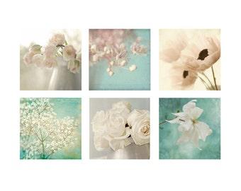 Floral Home Decor, Photography Prints, Six Flower Art Print Set, Floral Still Life, Housewarming Gift, Flower Photography, Shabby Chic Decor