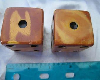 2 Vintage  Bakelite 1 1/2 inch butterscotch  dice