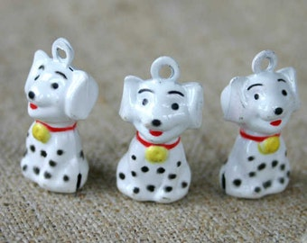 3pcs Jingle Bell Dalmatian Dog Charms Brass Enamel 22x14mm Christmas Decor