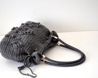Vegan Crochet Tote bag  , Wool Shoulder Bag , Gerard Darel Bag , Bohemian Style , Handmade  Bag, With Genuine Leather Handles , Gift for her