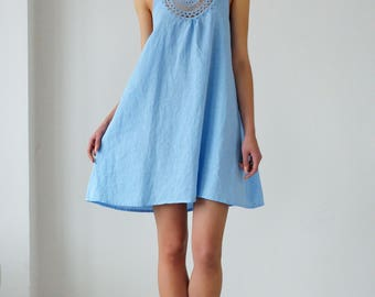 Linen Short Night Gown With Crochet Front Detail/ Flax Robe/ Luxury Sleepwear/ Honeymoon Gown Linen/ Wedding Lingerie/ Gift For Her
