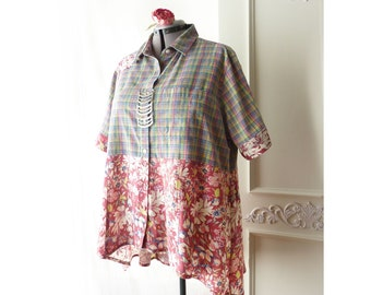 Plus size high low tunic top, pastel plaid, upcycled 2X shirt, Boho ooak, floral, pink, yellow, green, daisy, button down, cotton, rayon