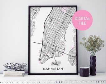 Manhattan, New York Art, City Map Print Wall Art   Print At Home   Digital Download File
