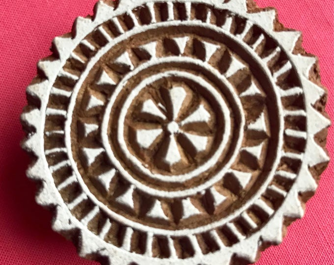 Hand carved Wooden Round Block Stamp for textile Fabric printing, scrapbooking, henna, clay work, pottery, Indian design, Arts and Crafts