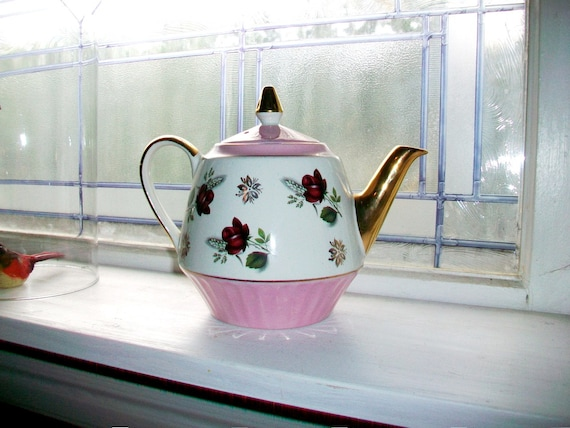 Vintage Teapot Gibsons Staffordshire Pink and Cream w/ Flowers 1950s