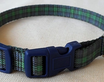 Blue and Green Plaid Polyester Webbing Collar