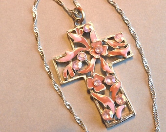 PINK & VIOLET Enamel Cross, Rhinestone Silver Pink and Lavender Cross, Openwork Vintage Cross, Two Tone Cross and Chain, Cross Necklace