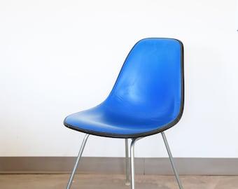 Sold *** Vintage Eames for Herman Miller Side Chair in Blue Naugahyde