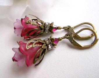 Pink flower dangle flower earrings bronze flower dangle flower dangle vintage earrings lucite flower dangle floral earrings floral dangle