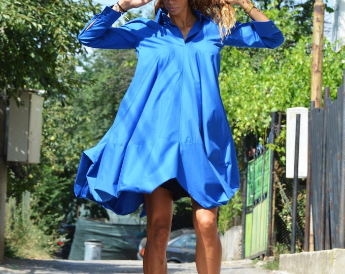 Maxi Asymmetric Shirt, Loose Turkish Blue Long Shirt, Plus Size Tunic, Extravagant Party Dress, Oversize Long Top by SSDfashion