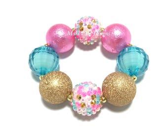Toddler or Girls Hot Pink, Turquoise and Gold Chunky Bracelet - Unicorn Chunky bracelet - Girls Princess bracelet - Pink Mermaid Bracelet
