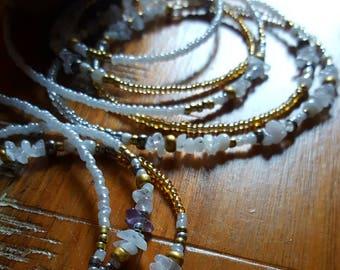 Kundalini Energy Moonstone and Clear Quartz Waistbead, Divine Feminine Energy, African Waistbeads, Crown Chakra Jewelry, Waist Jewelry, Boho