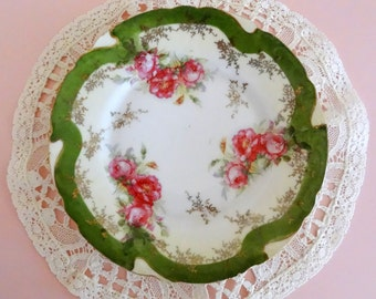 Antique Cottage Chic Green Bouquet of Roses Handpainted Plate