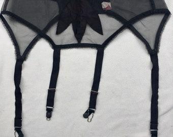 Vintage 1950s 50s Black satin sheer w/lace garter belt size 28