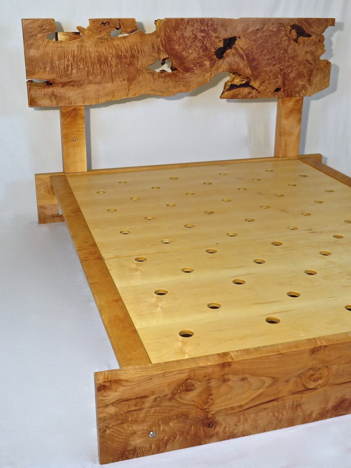 Handcrafted live edge curly maple queen bed frame with
