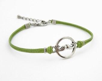 Mustache Bracelet, Moss Green Bracelet, Waxed Cord Bracelet