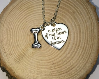 A piece of my heart is in heaven necklace | Remembrance memorial in loving memory of forever in my heart death pet cat dog rainbow bridge