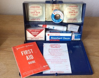 Vintage Johnson & Johnson Emergency First Aid Kit, Metal First Aid Tin with Vintage Supplies, Code 8116,  Incomplete