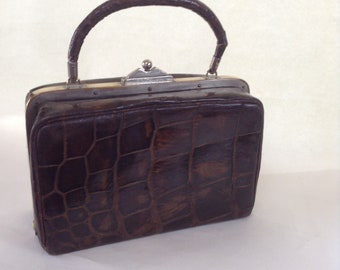 Rare Antique French Crocodile Handbag Etui Set