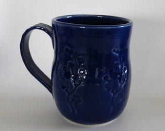 Cobalt blue Ceramic Handmade Mug (14 oz), Pottery cup with Cherry Blossom Design, Unique gift idea, READY TO SHIP