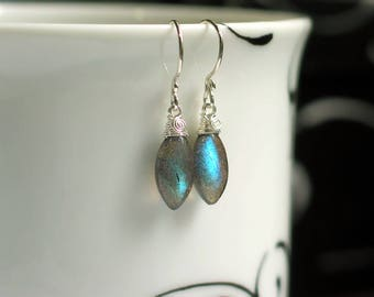 Labradorite Marquise Earrings | Blue Green Flash Labradorite | Argentium Silver Wire Wrapping | Moss Gray Drop Dangles | Ready to Ship