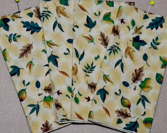 Fall Cloth Napkins - Set of 4 Fall Leaves and Acorns Cloth Napkins