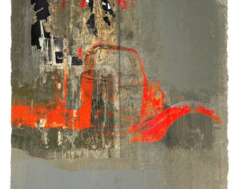 The Red Truck, archival limited edition print, German Etching