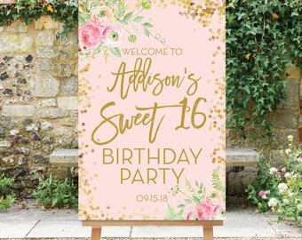 Birthday Welcome Sign, Sweet 16 Birthday Welcome Sign, Large Welcome Sign, Birthday Party Sign, Digital File, Pink Gold Printable, The Addie