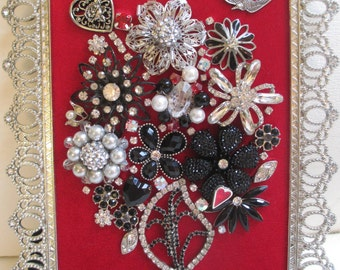 Jeweled Framed Jewelry Art Flower Bouquet Red Silver Hearts Valentine