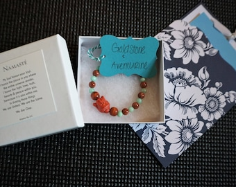 Healing Intention Bracelet - *Goldstone* *Aventurine* - Meaning Card Included