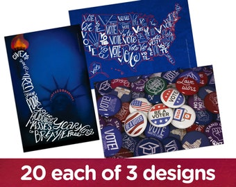 """Mixed pack: 20 each of """"Vote USA"""", """"Lady Liberty"""" and """"Vote for Your Values"""" postcards."""