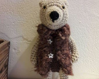 Teddy bear, plush, amigurumi in sand color wool, new